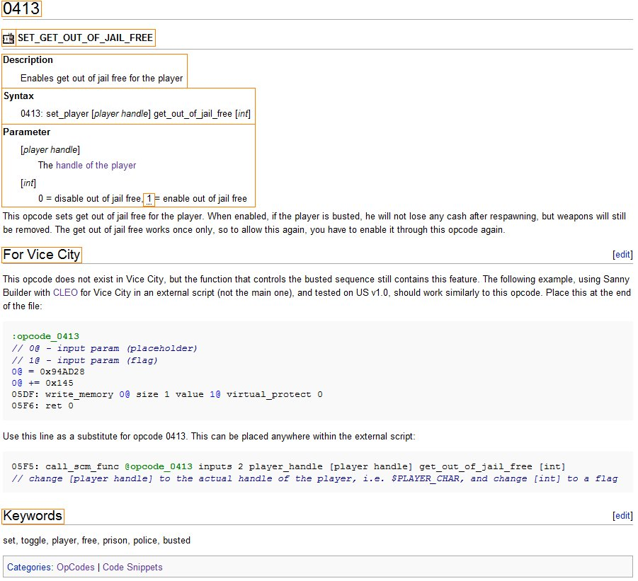 Opcode Page Layout